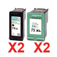 4 Pack Compatible HP 74XL & 75XL Black & Colour Ink Cartridge Set (2BK,2C) CB336WA CB338WA