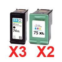 5 Pack Compatible HP 74XL & 75XL Black & Colour Ink Cartridge Set (3BK,2C) CB336WA CB338WA