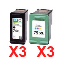 6 Pack Compatible HP 74XL & 75XL Black & Colour Ink Cartridge Set (3BK,3C) CB336WA CB338WA