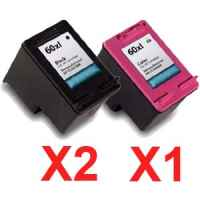 3 Pack Compatible HP 60XL Black & Colour Ink Cartridge Set (2BK,1C) CC641WA CC644WA