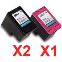 3 Pack Compatible HP 60XL Black & Colour Ink Cartridge Set (2BK,1C) CC641WA CC644WA