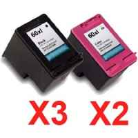 5 Pack Compatible HP 60XL Black & Colour Ink Cartridge Set (3BK,2C) CC641WA CC644WA