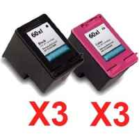 6 Pack Compatible HP 60XL Black & Colour Ink Cartridge Set (3BK,3C) CC641WA CC644WA