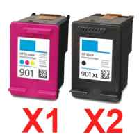 3 Pack Compatible HP 901XL Black & 901 Colour Ink Cartridge Set (2BK,1C) CC654AA CC656AA