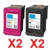4 Pack Compatible HP 901XL Black & 901 Colour Ink Cartridge Set (2BK,2C) CC654AA CC656AA