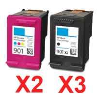 5 Pack Compatible HP 901XL Black & 901 Colour Ink Cartridge Set (3BK,2C) CC654AA CC656AA