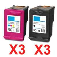 6 Pack Compatible HP 901XL Black & 901 Colour Ink Cartridge Set (3BK,3C) CC654AA CC656AA