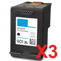 3 x Compatible HP 901XL Black Ink Cartridge CC654AA