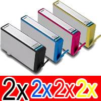 8 Pack Compatible HP 564XL Ink Cartridge Set (2BK,2C,2M,2Y) CN684WA CB323WA CB324WA CB325WA
