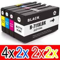 10 Pack Compatible HP 711 Ink Cartridge Set (4BK,2C,2M,2Y) CZ133A CZ130A CZ131A CZ132A