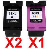 3 Pack Compatible HP 63XL Black & Colour Ink Cartridge Set (2BK,1C) F6U64AA F6U63AA