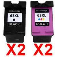 4 Pack Compatible HP 63XL Black & Colour Ink Cartridge Set (2BK,2C) F6U64AA F6U63AA