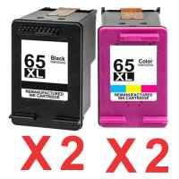 4 Pack Compatible HP 65XL Black & Colour Ink Cartridge Set (2BK,2C) N9K04AA N9K03AA