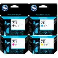 4 Pack Genuine HP 711 Ink Cartridge Set (1BK,1C,1M,1Y) CZ133A CZ130A CZ131A CZ132A 3WX01A