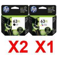 3 Pack Genuine HP 63XL Black & Colour Ink Cartridge Set (2BK,1C) F6U64AA F6U63AA