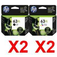 4 Pack Genuine HP 63XL Black & Colour Ink Cartridge Set (2BK,2C) F6U64AA F6U63AA