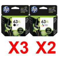 5 Pack Genuine HP 63XL Black & Colour Ink Cartridge Set (3BK,2C) F6U64AA F6U63AA