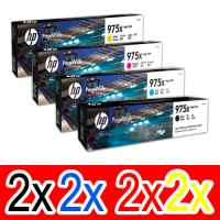 8 Pack Genuine HP 975X Ink Cartridge Set (2BK,2C,2M,2Y) L0S09AA L0S00AA L0S03AA L0S06AA