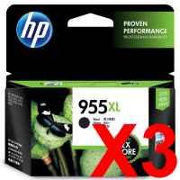 3 x Genuine HP 955XL Black Ink Cartridge L0S72AA