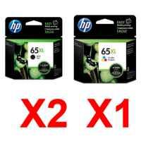 3 Pack Genuine HP 65XL Black & Colour Ink Cartridge Set (2BK,1C) N9K04AA N9K03AA
