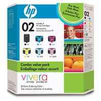1 x Genuine HP 02 Ink Cartridge Rainbow Value Pack (1BK,1C,1M,1Y,1LC,1LM)) SA378AA