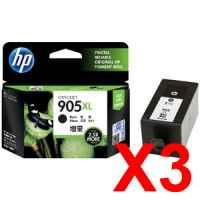 3 x Genuine HP 905XL Black Ink Cartridge T6M17AA