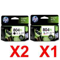 3 Pack Genuine HP 804XL Black & Colour Ink Cartridge Set (2BK,1C) T6N12AA T6N11AA
