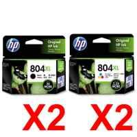 4 Pack Genuine HP 804XL Black & Colour Ink Cartridge Set (2BK,2C) T6N12AA T6N11AA