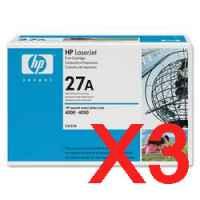 3 x Genuine HP C4127A Toner Cartridge 27A