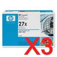 3 x Genuine HP C4127X Toner Cartridge 27X