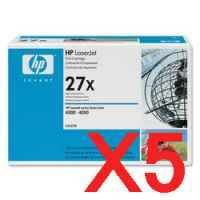 5 x Genuine HP C4127X Toner Cartridge 27X