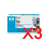 3 x Genuine HP C7115X Toner Cartridge 15X