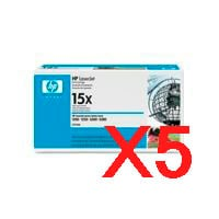 5 x Genuine HP C7115X Toner Cartridge 15X