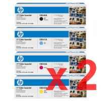 2 Lots of 4 Pack Genuine HP CB540A CB541A CB542A CB543A Toner Cartridge Set 125A