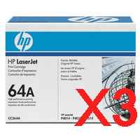 3 x Genuine HP CC364A Toner Cartridge 64A
