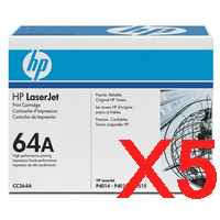 5 x Genuine HP CC364A Toner Cartridge 64A