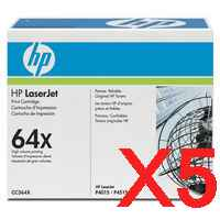 5 x Genuine HP CC364X Toner Cartridge 64X