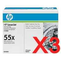 3 x Genuine HP CE255X Toner Cartridge 55X
