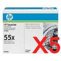 5 x Genuine HP CE255X Toner Cartridge 55X