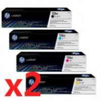 2 Lots of 4 Pack Genuine HP CE310A CE311A CE312A CE313A Toner Cartridge Set 126A