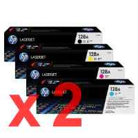2 Lots of 4 Pack Genuine HP CE320A CE321A CE322A CE323A Toner Cartridge Set 128A