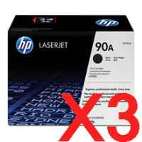 3 x Genuine HP CE390A Toner Cartridge 90A