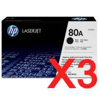 3 x Genuine HP CF280A Toner Cartridge 80A