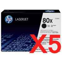 5 x Genuine HP CF280X Toner Cartridge 80X