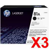 3 x Genuine HP CF281A Toner Cartridge 81A