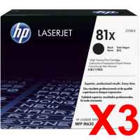 3 x Genuine HP CF281X Toner Cartridge 81X