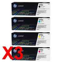 3 Lots of 4 Pack Genuine HP CF380X CF381A CF383A CF382A Toner Cartridge Set 312X 312A