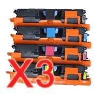 3 Lots of 4 Pack Compatible HP C9700A C9701A C9702A C9703A Toner Cartridge Set 121A