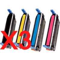 3 Lots of 4 Pack Compatible HP C9720A C9721A C9722A C9723A Toner Cartridge Set 641A