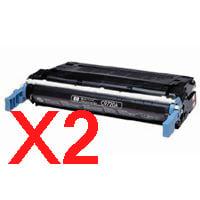 2 x Compatible HP C9720A Black Toner Cartridge 641A